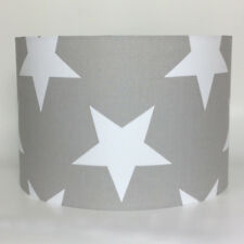 Very Big White Stars on Grey Fabric Ceiling Light Shade or Lampshade in 2 sizes