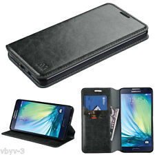 For Samsung GALAXY A7 A700 Leather Flip Wallet Case Cover Folio Pouch Stan BLACK