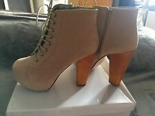 New with box Lace Up Suede High Heel Ankle Boots Platform Wooden Block Size UK 6