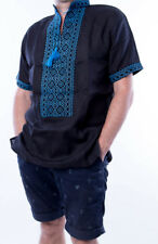 VYSHYVANKA men Ukraine Embroidered Black Blue Linen shirt S-4XL