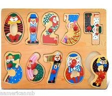 "NUMBERS & CLOWNS 10pc Peg Wood Puzzle 11.5""x8.5"" Educational Toy Wooden Game"