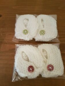 Newborn baby booties white in colour handmade new ideal gift present 1pr