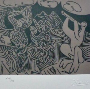 PABLO PICASSO Dancers and musician HAND NUMBERED 217/333 signed LITHOGRAPH