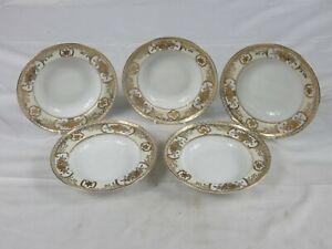 Vintage Noritake gold flower basket 5 rimmed fruit dessert bowls white & gold