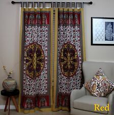 Handmade 100% Cotton Peacock Tab Top Curtain Door Panel Drape Red Gorgeous