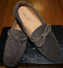 AUTHENTIC! PRADA FUMO VITELLO SCAMOSCIATO SUEDE LOAFERS SZ 7 UK/ 8 US