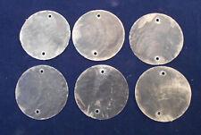"100 Capiz Shells White Round 1 1/2"" (38mm) Two Holes Crafts Windchime Shellcraft"