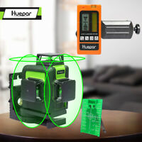 12 Lines 3D Cross Line Laser Level Green Vertical & Horizontal + Laser Receiver