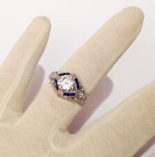 bague argent 925 poinçon cocktail style joaillerie cristaux saphir diamant T.55