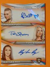 2020 Topps WWE Women's Rhea Ripley/Toni Storm/Kay Lee Ray Triple AUTO /25 (MS)
