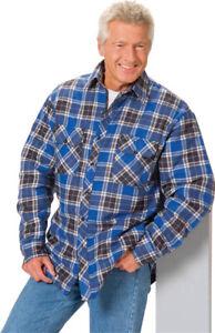 Holzfällerhemd warmer Jacken-Ersatz mit Thermofutter blau kariert Gr. 3XL - Neu