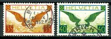 Suisse, timbres Poste Aérienne N° 13a et 14a papier non gaufré oblitérés, TB