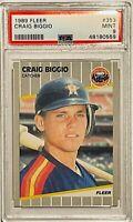 CRAIG BIGGIO ROOKIE 1989 FLEER CARD #353 PSA GRADED MINT 9 HOUSTON ASTROS MLB RC
