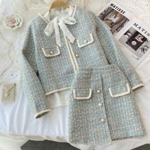 Lady Tweed Short Coat Three Suits Bow Tie Shirt Irregular Hip Wrap Skirt T-Shirt