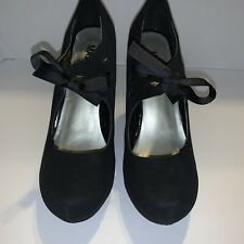 Madeline Girl Black Mary Jane Heels Faux Suede Size 8.5 M