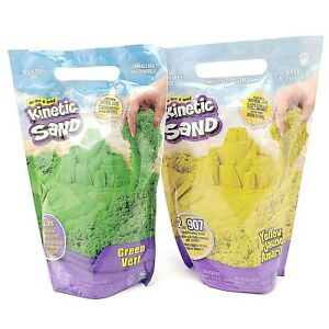 Kinetic Sand Yellow And Green Lot of 2 - 2 Lb Bags Natural Magical Flowing Sand