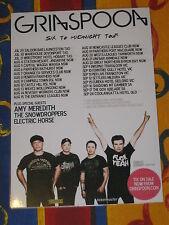 GRINSPOON - SIX TO MIDNIGHT AUSTRALIAN TOUR -  LAMINATED PROMO TOUR POSTER