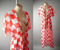 Checkered Orange White Sheer Long Maxi Beach Cover Up Kimono 292 mv Jacket S M