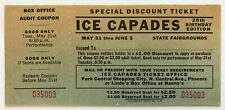 Vintage Ice Capades Ticket 1960 20th Birthday Edition - New Condition Flat Clean