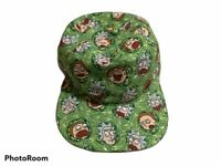 ADULT SWIM RICK & MORTY SUBLIMATED FACES ALL OVER PRINT GREEN SNAPBACK HAT CAP