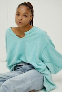 Free People Sweatshirt Pullover With The Band Oversized Comfy Aqua Aura L NEW