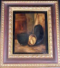 Huile sur toile du XIX eme NATURE MORTE au cuivre Monogrammée LM Cadre ancien