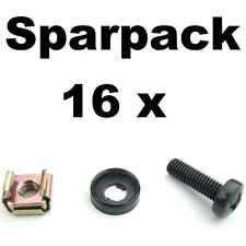16x Rackschraube M6x20 + Unterlegscheibe mit Kragen + Käfigmutter f Stahlschiene