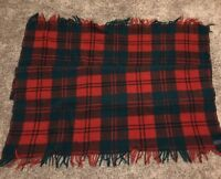 Pendleton 100% Pure Virgin Wool Throw Blanket Red Green  Plaid 45X55 Portland OR