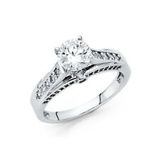 Solitaire Cz Engagement Wedding Ring Band Real 14k White Gold Channel Set Round
