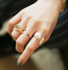 Attractive Women Ring Set Geometric Diamond 3PCS/Set Star Pearl Open Rings PR