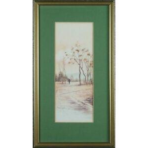 Signed Framed Original Japanese Winter Pasture Landscape Watercolour Painting