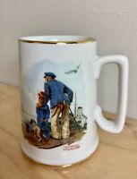 Vintage Norman Rockwell Looking Out to Sea Old Man Boy Coffee Tea Cup Mug Gold