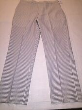 NWT Land's End Tailored fit pants mens size 34 Blue Seersucker Retail $75.00