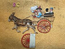 More details for victorian decoupage large donkey, children and cart scrap scrapbook c1870