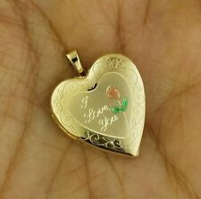Heart Rose Pendant I Love you Scripted Photo Locket Charm 14K Solid Yellow Gold