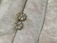 14K Yellow Gold Round Diamond Cluster Flower Stud Earrings - 0.45 TCW