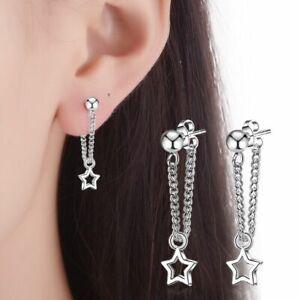 Women Girls 925 Sterling Silver Star Dangle Drop Stud Earrings Jewellery Gift UK