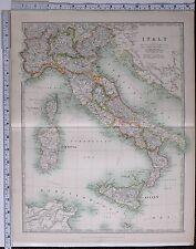 1915 LARGE MAP ITALY ROME TUSCANY MARCHES EMILIA SICILY PIEDMONT MILAN