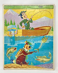 Vintage Whitman Hanna-Barbera Yogi Bear & Ranger Smith Frame Tray Puzzle