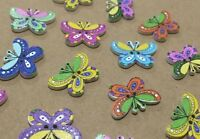 8 Wooden Butterfly Buttons 25mm W0011 Aussie Seller