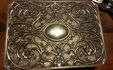 "Vintage Godinger Silver Plated 9"" Jewelry Box Floral design Easy access"