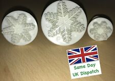 Christmas Cake Decorating - Christmas Snow Flake Plunger Icing Cutter (Set of 3)