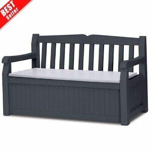 Garden Bench Outdoor Storage Furniture 2 Seater Weather Resistant Graphite Grey