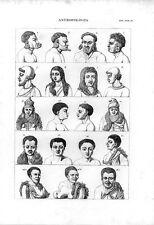 Stampa antica antropologia UOMINI e DONNE di tribù primitive 1848 Old print