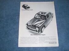 """1962 Peugeot 403 VW Comparison Vintage Ad """"Now Think a Little Bigger"""""""