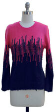 Colorblock Eyelash Sweater Navy Hot Pink Womens Size S New