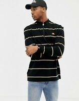 Ellesse Mens 1/4 Zip Polo Top Loose Fit Bonsi Stripe Logo Black New
