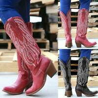 Womens Ladies Cowgirl Cowboy Boots Ladies Mid Wide Calf Slouch Shoes Size 6-10.5