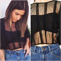 Zara Black Mesh Lace Short Sleeve Crop Top Size 6 8 10 12 14 XS S M L XL Blogger