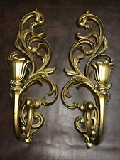 Pair Vintage Syroco Sconce Candle Holder Wall Decor 16�H X 5�W
